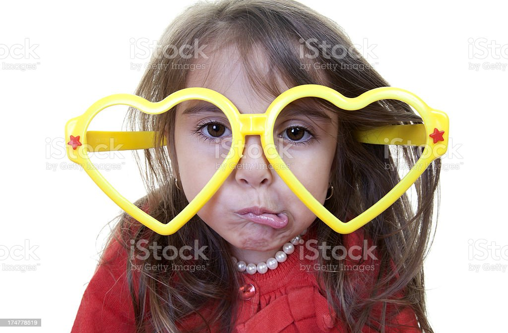 cute girl with comic heart shape glasses stock photo