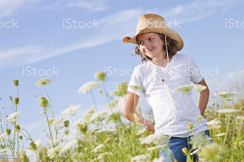Cute girl with cowboy hat royalty-free stock photo