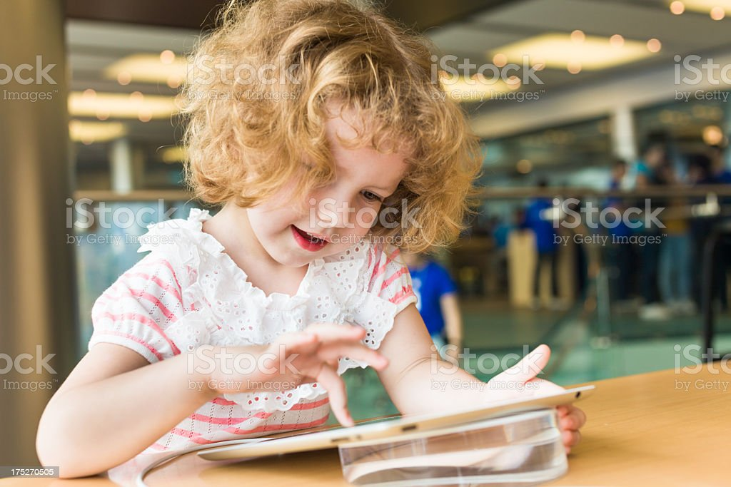 Cute girl with Digital Tablet royalty-free stock photo