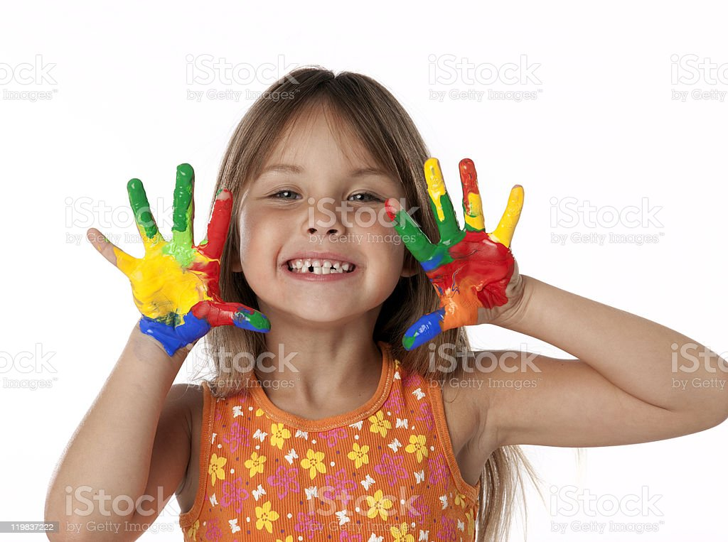 Cute Girl With Finger Paint Hands stock photo