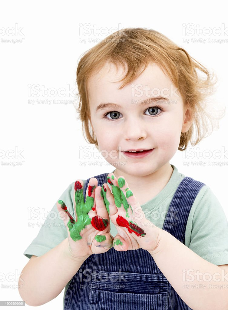 cute girl with finger paint stock photo