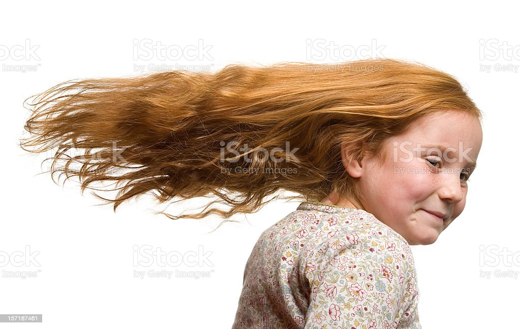 Cute girl with fluttering hair royalty-free stock photo