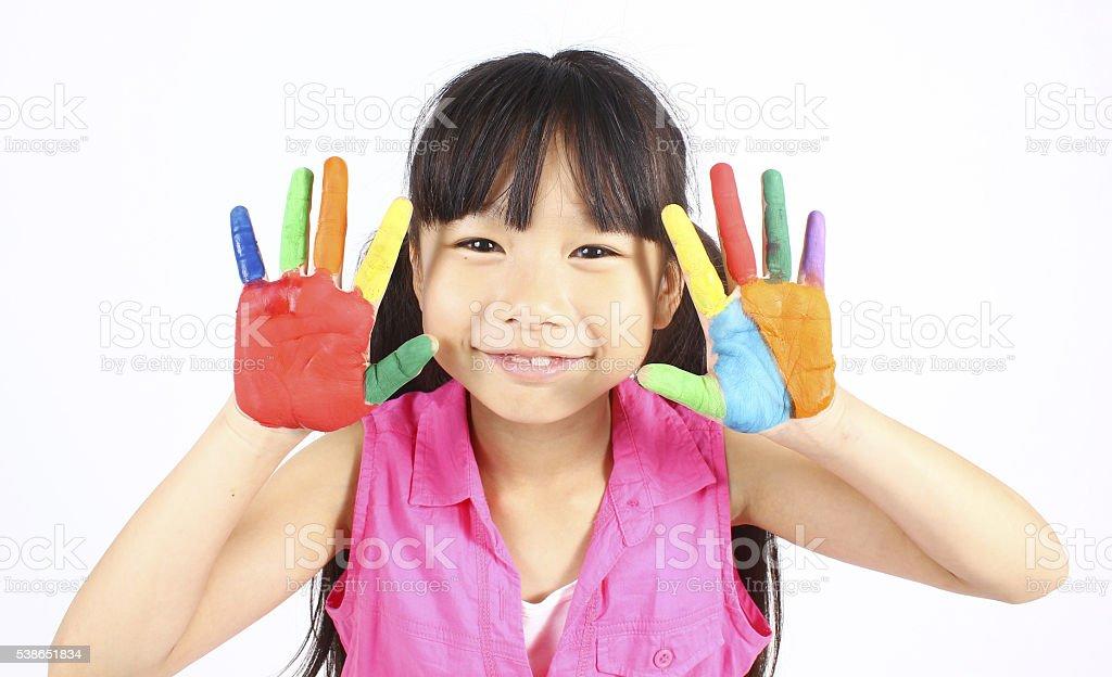 Niedlich Mädchen mit Händen in der Farbe Lizenzfreies stock-foto