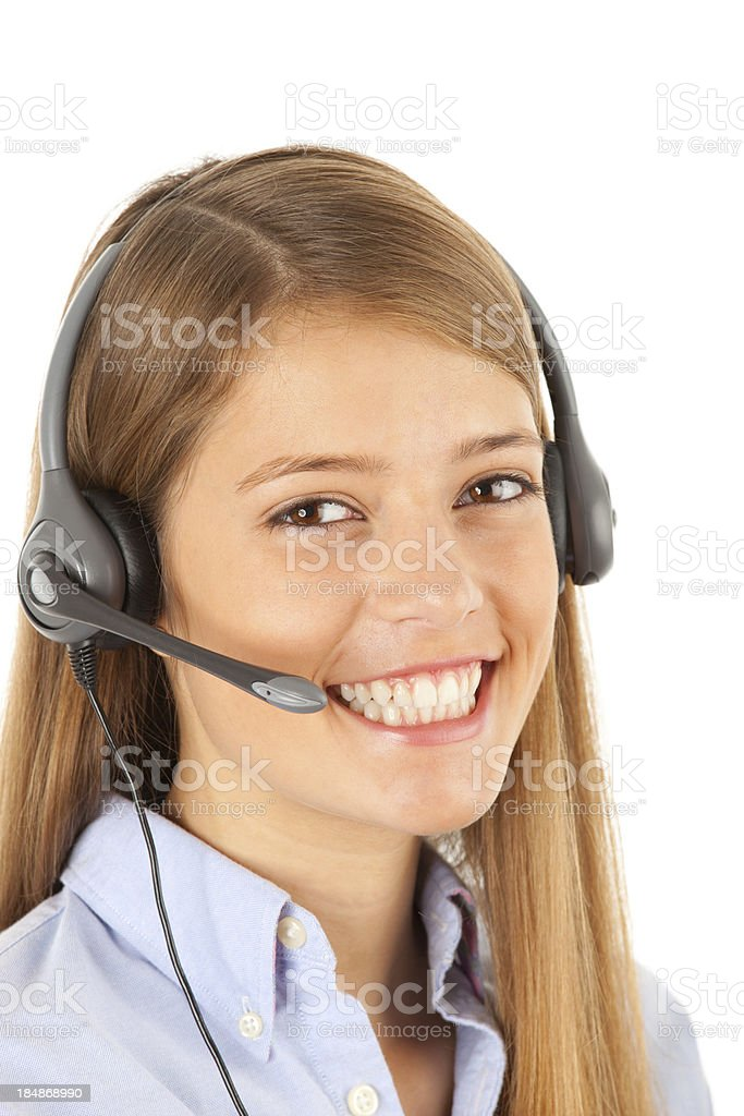 Cute girl with headset royalty-free stock photo