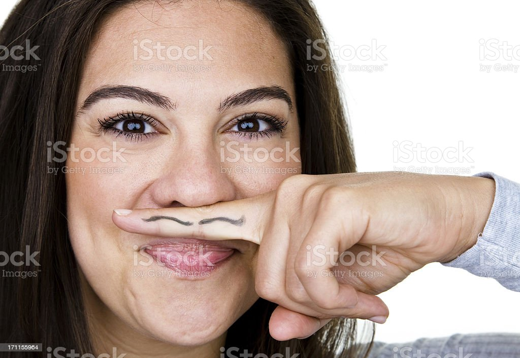 Cute girl with ink mustache royalty-free stock photo