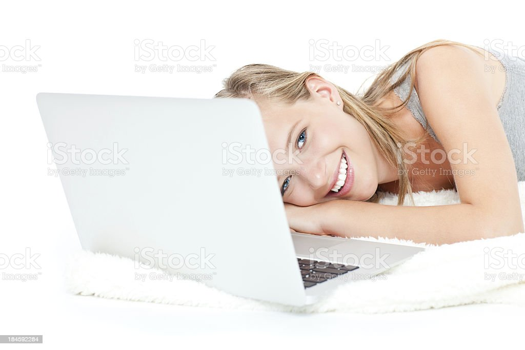 Cute girl with laptop isolated on white royalty-free stock photo