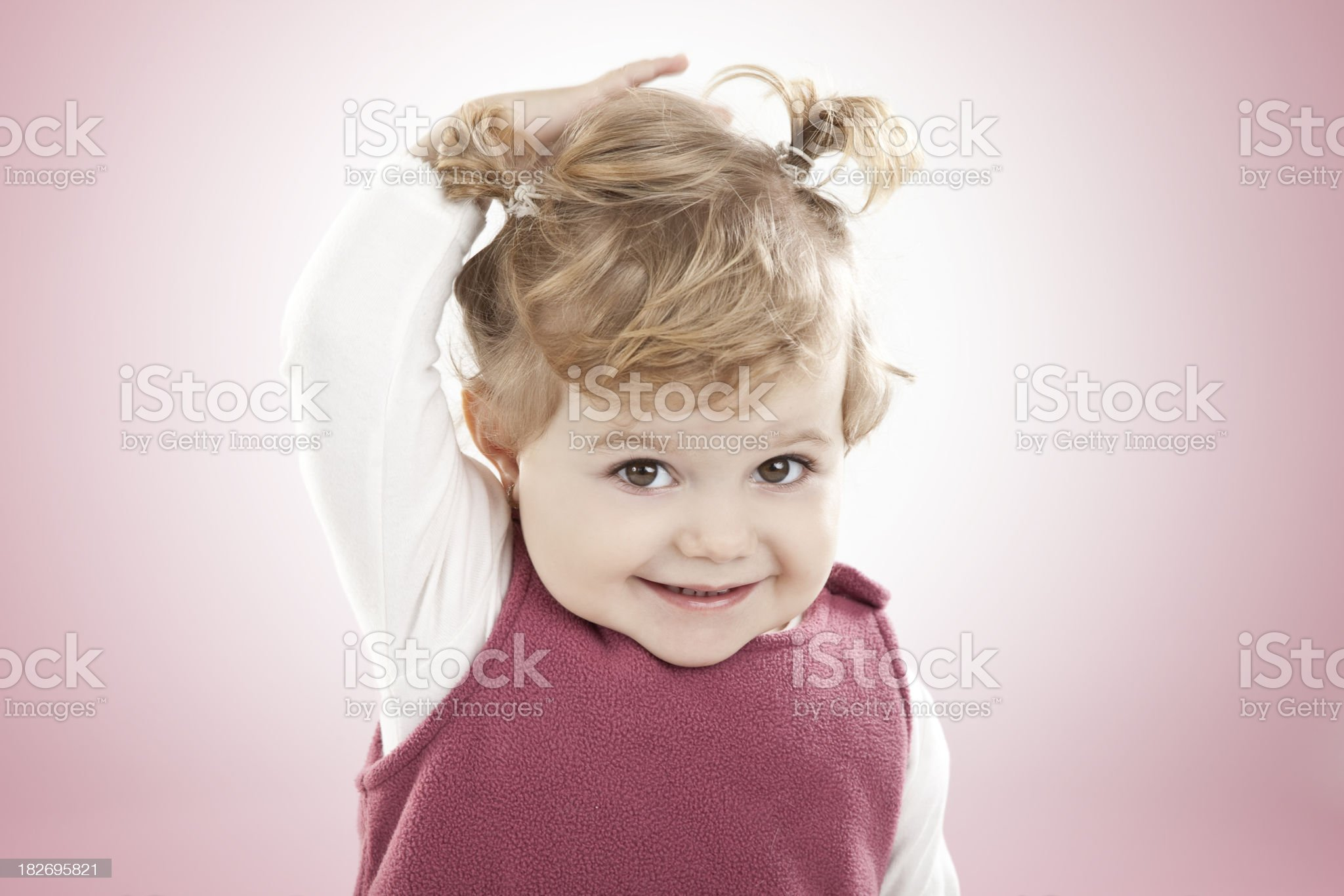 Cute girl with pigtails royalty-free stock photo
