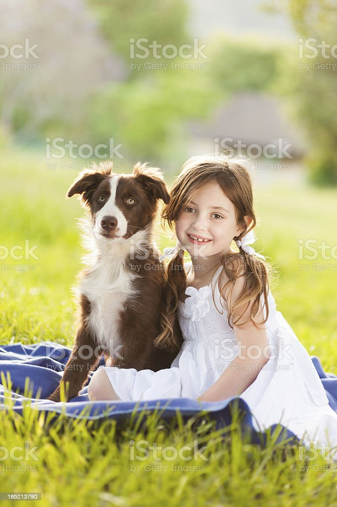Cute Girl With Puppy royalty-free stock photo