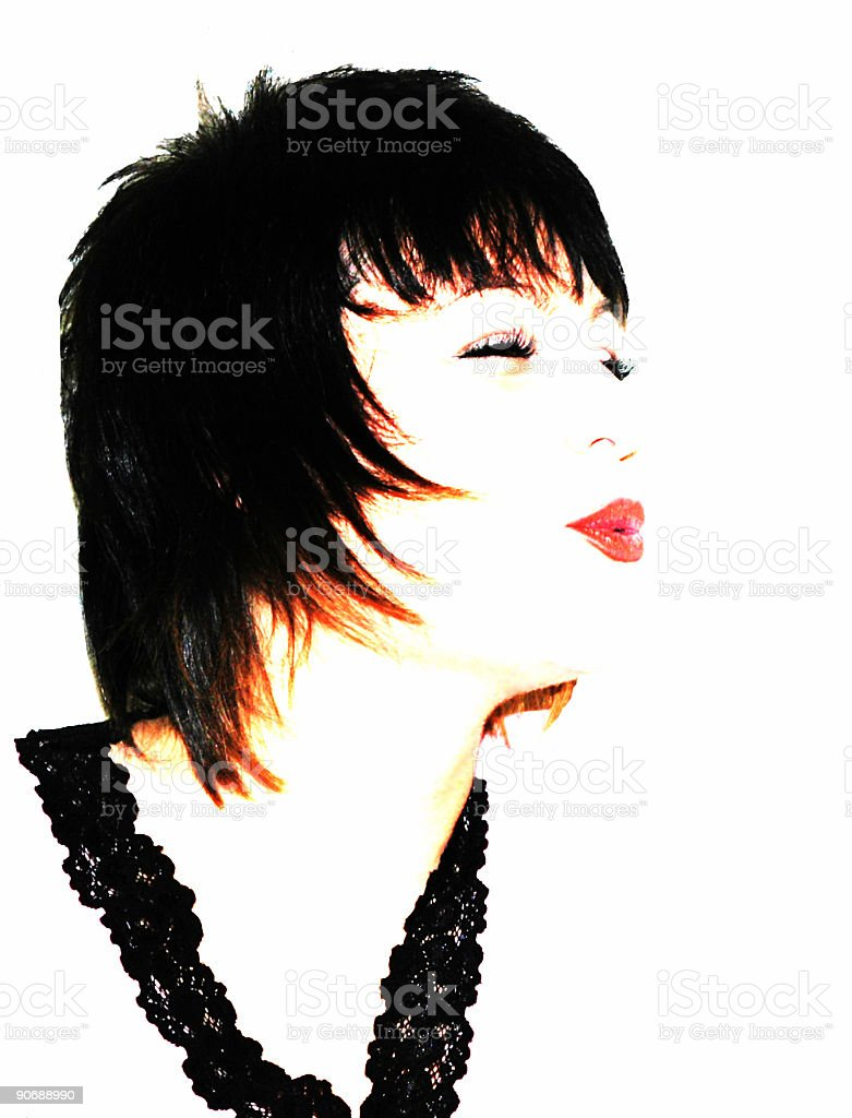Cute Girl with Stylin Mullet stock photo