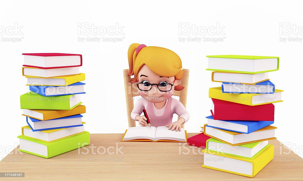 Cute girl writting on book royalty-free stock photo