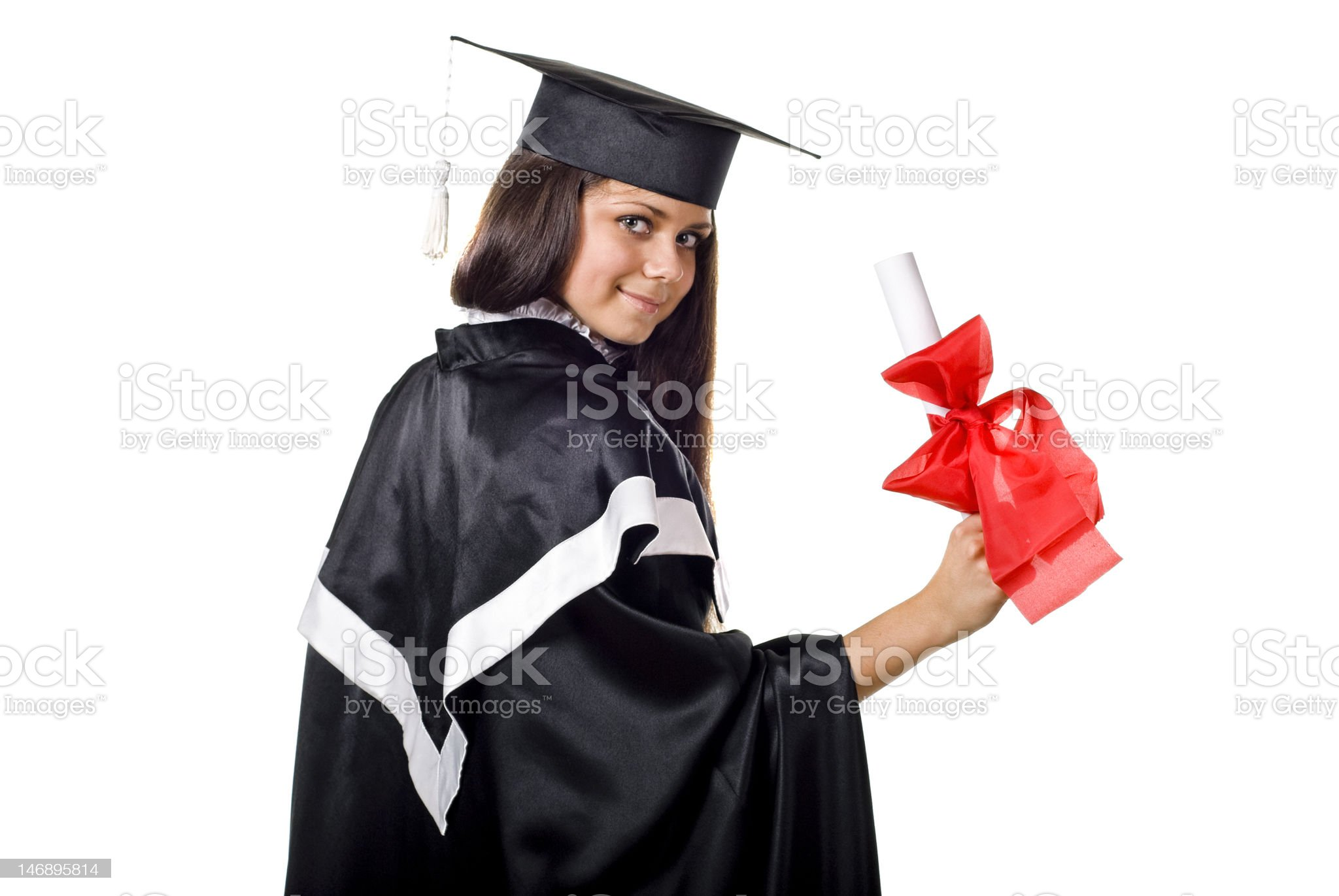 Cute Graduate with Certificate royalty-free stock photo