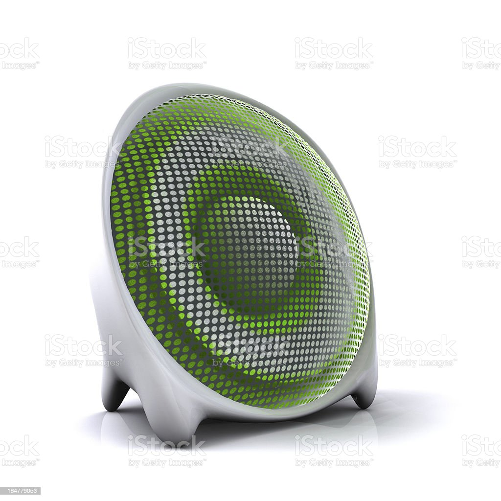 cute green 3d sound system speaker stock photo