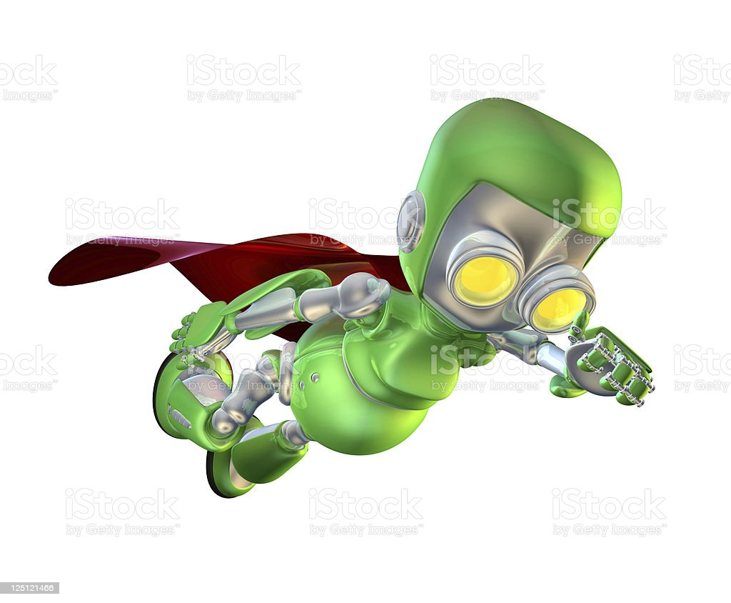 Cute green metal robot superhero character stock photo