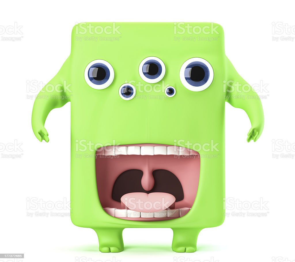 Cute green monster royalty-free stock photo