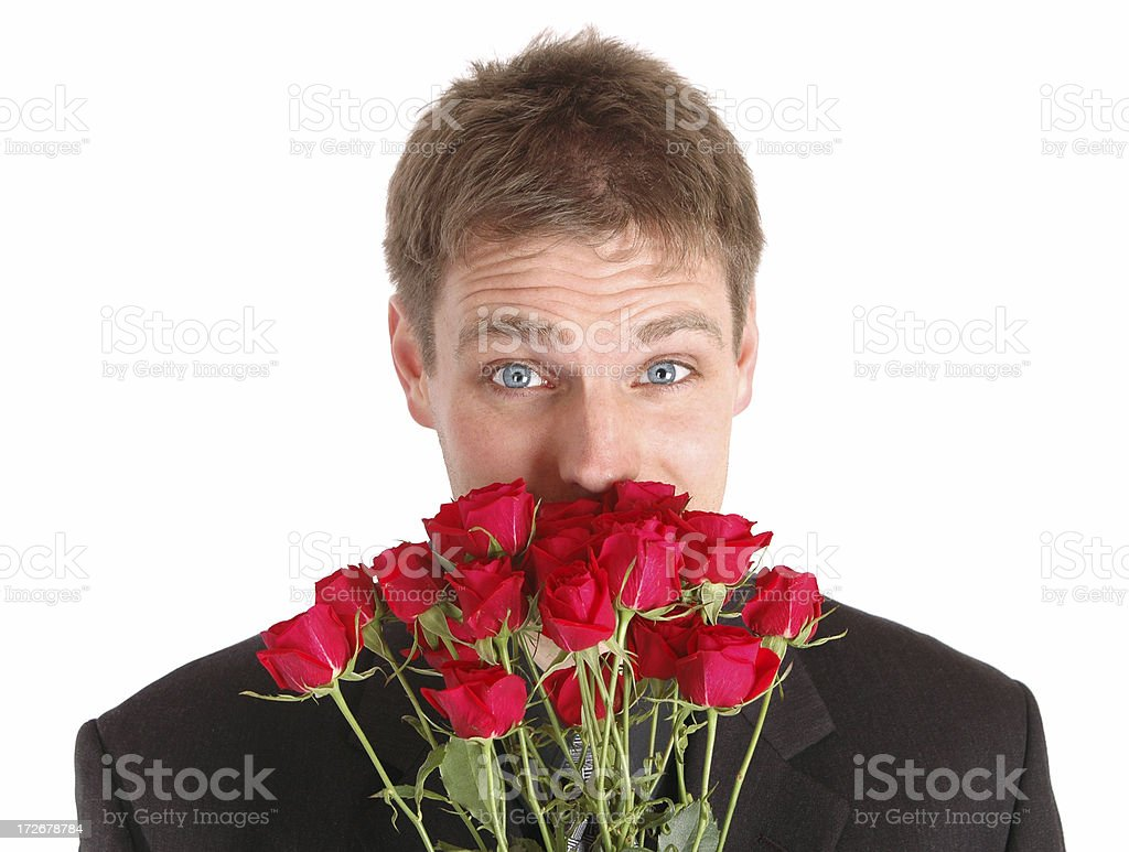 Cute Guy and Flowers stock photo