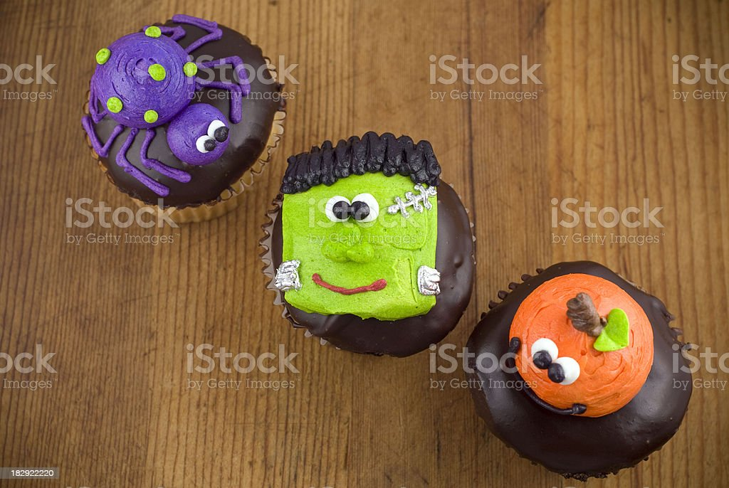 Cute Halloween Chocolate Cupcakes stock photo