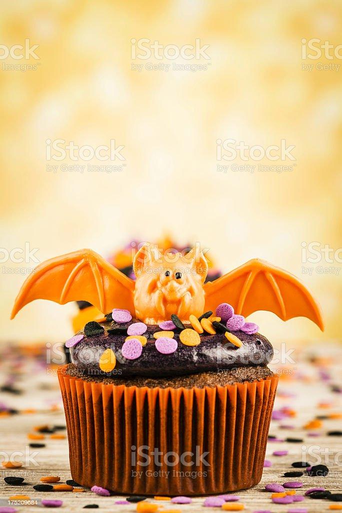 Cute Halloween Cupcake Characters: Bat stock photo