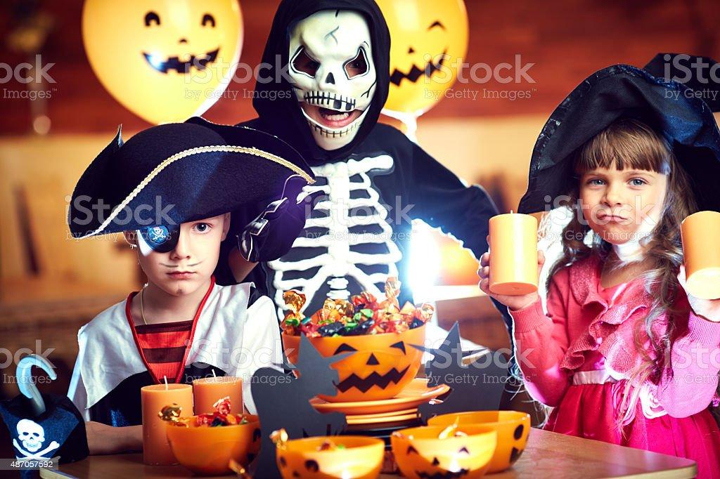 Cute Halloween heroes stock photo