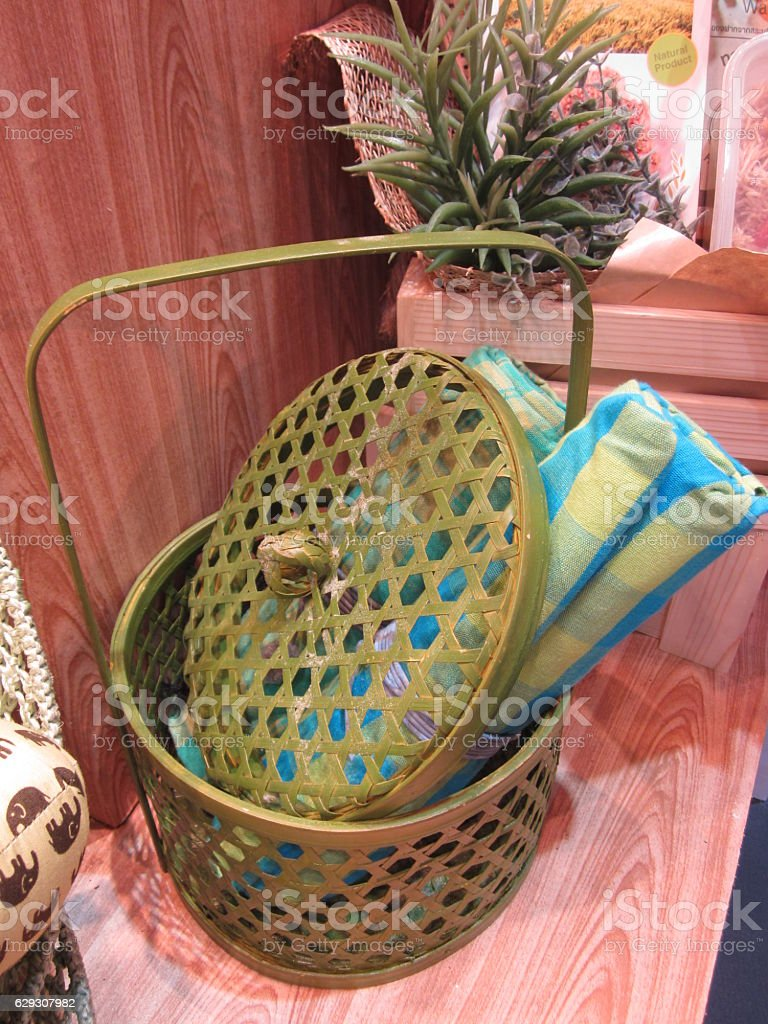 Cute handmade basket made of bamboo. stock photo