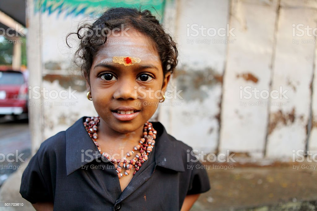Cute happy Hindu Indian girl stock photo