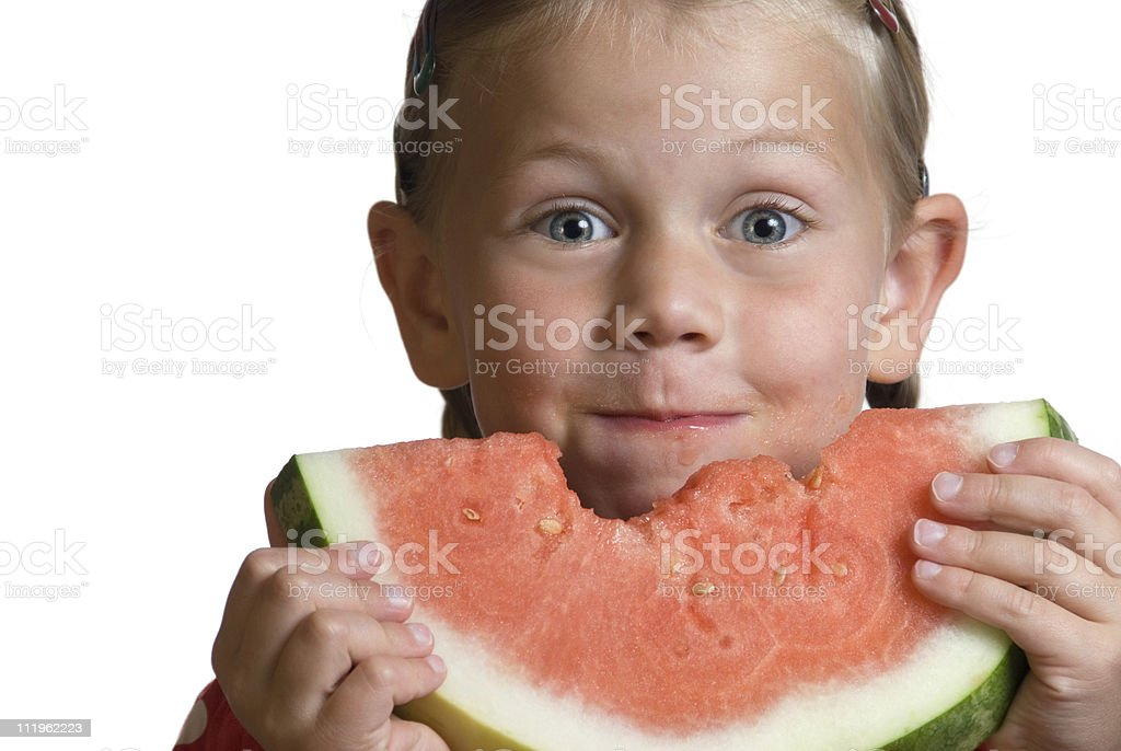 Cute happy little girl eating watermelon on white royalty-free stock photo