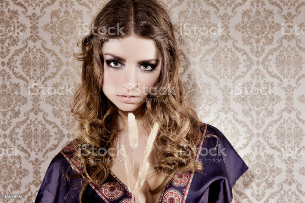 Beautiful Young Teenage Hippie Woman Portrait, Copy Space royalty-free stock photo