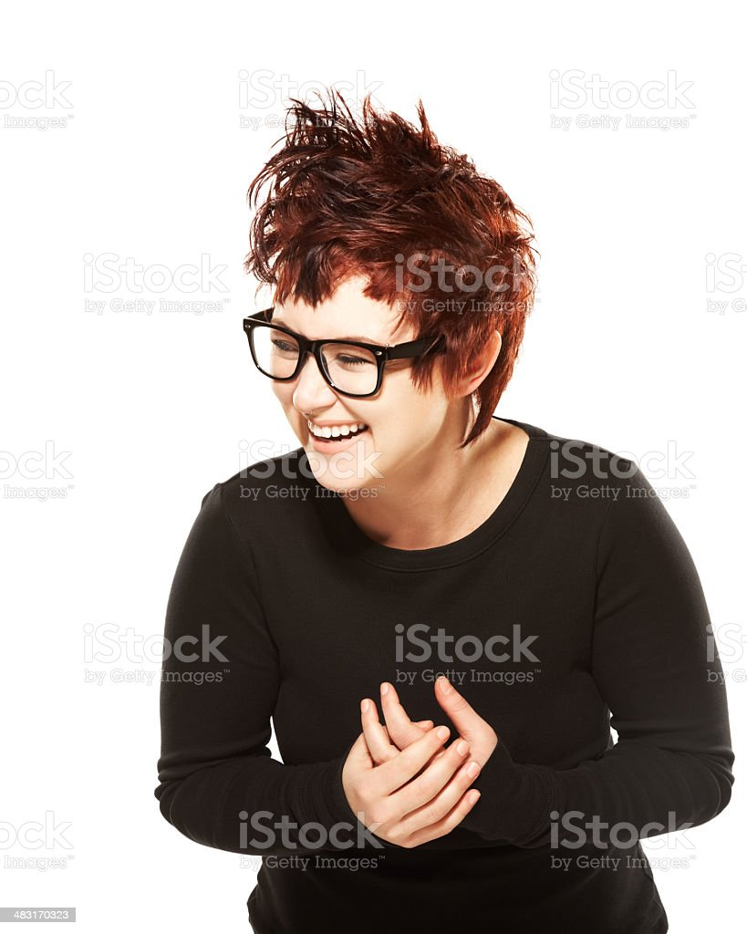 Cute hipster redhead girl laughing stock photo