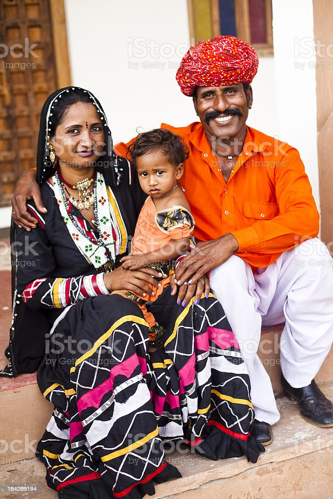 Cute Indian Family Smiling royalty-free stock photo