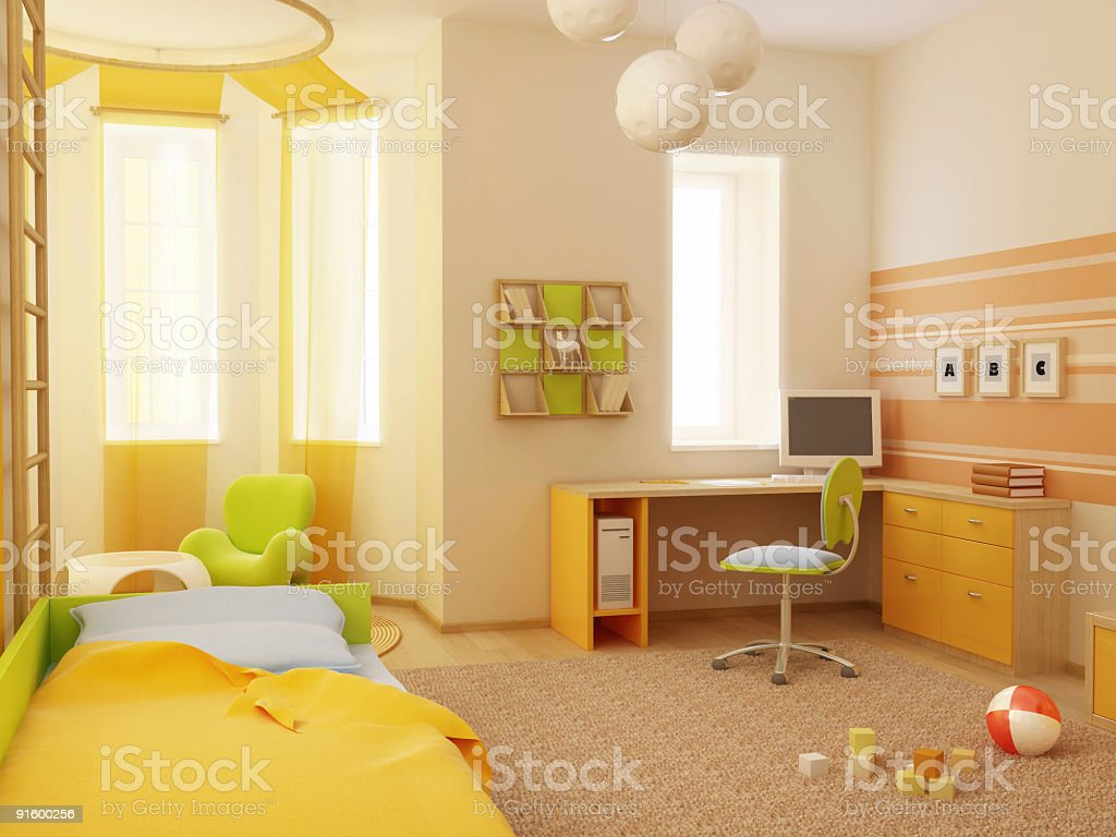 Cute interior design of children's room royalty-free stock vector art