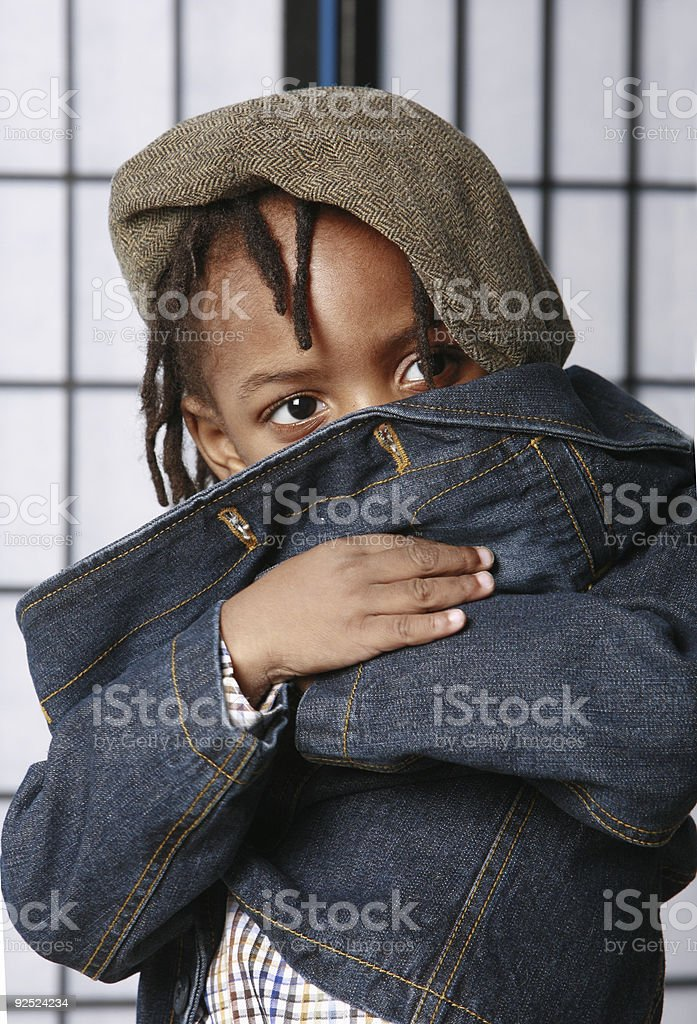 Cute kid hiding royalty-free stock photo
