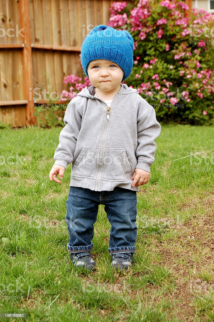 Cute Kid in the Backyard royalty-free stock photo
