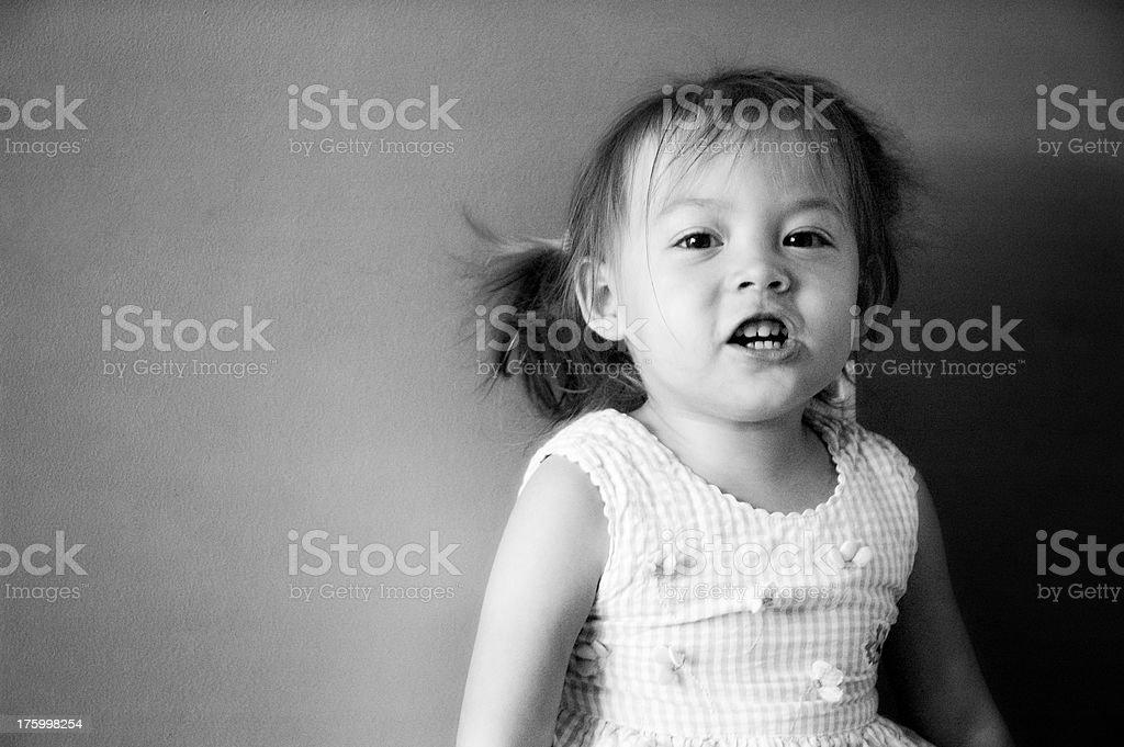 Cute Kid Talking - B&W royalty-free stock photo