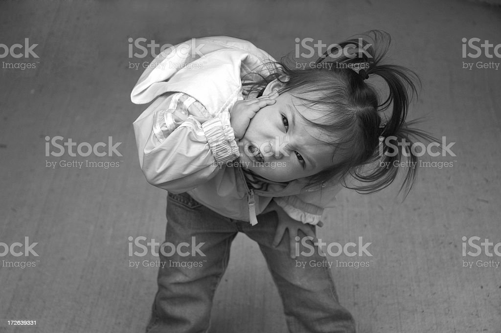 Cute Kid - Terrible Twos B&W royalty-free stock photo