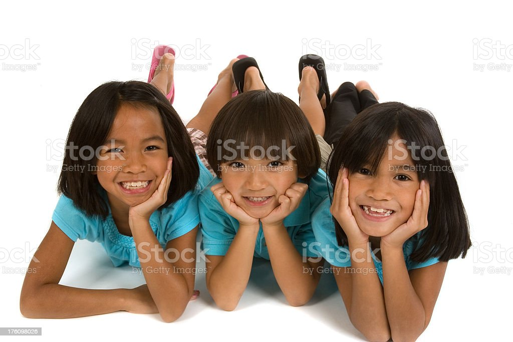 Cute kids in a row royalty-free stock photo