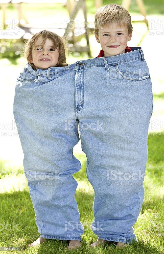 Cute Kids in Jeans stock photo
