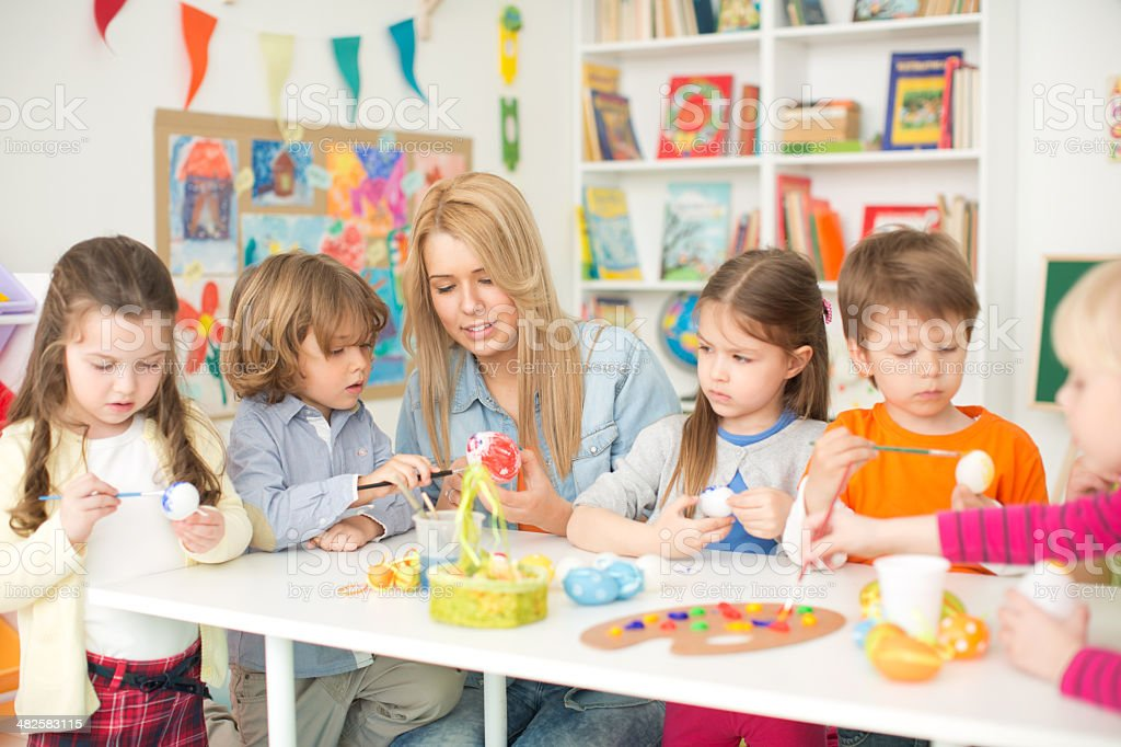 Cute kids in kindergarden. royalty-free stock photo