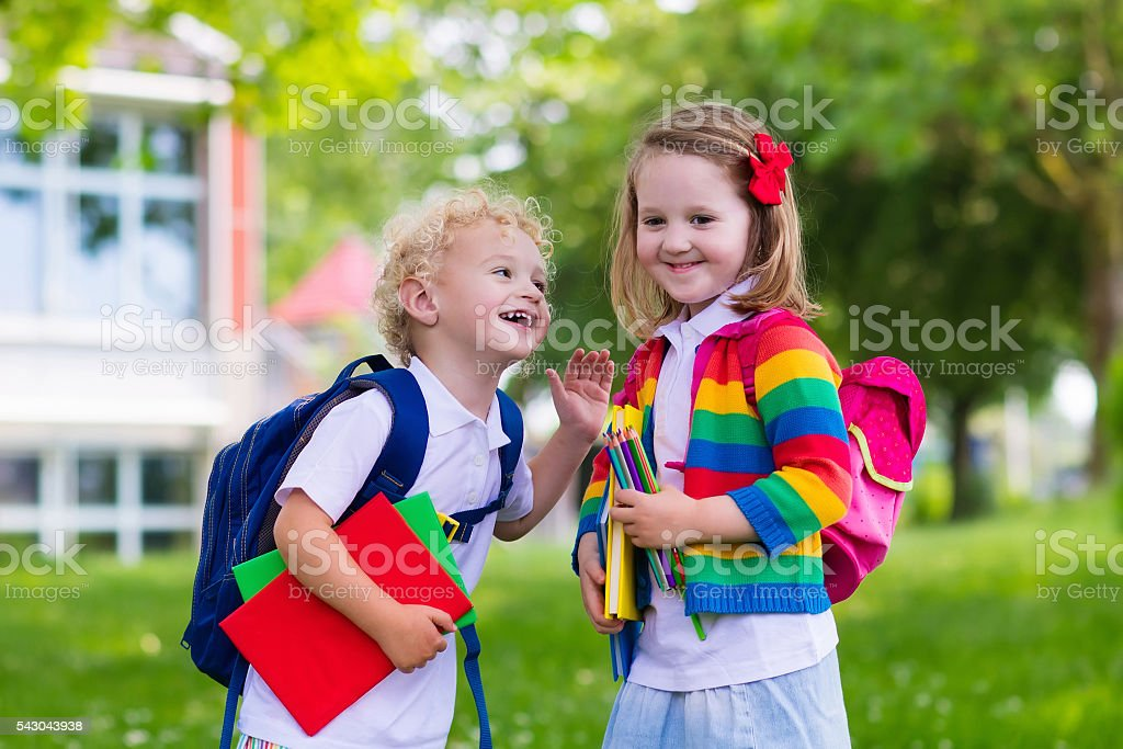 Cute kids on first school day stock photo