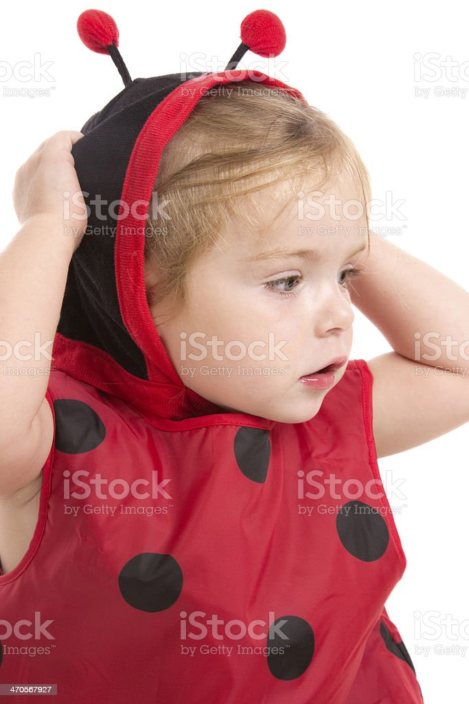 Cute Lady Bug Child stock photo