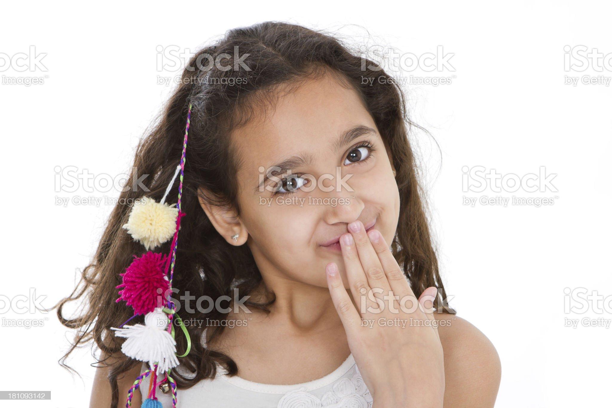 Cute latin american girl looking at camera royalty-free stock photo