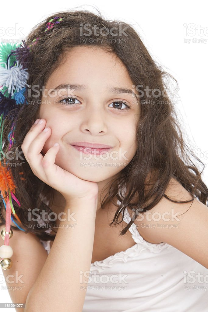 Cute latin american girl looking at camera royalty-free stock photo