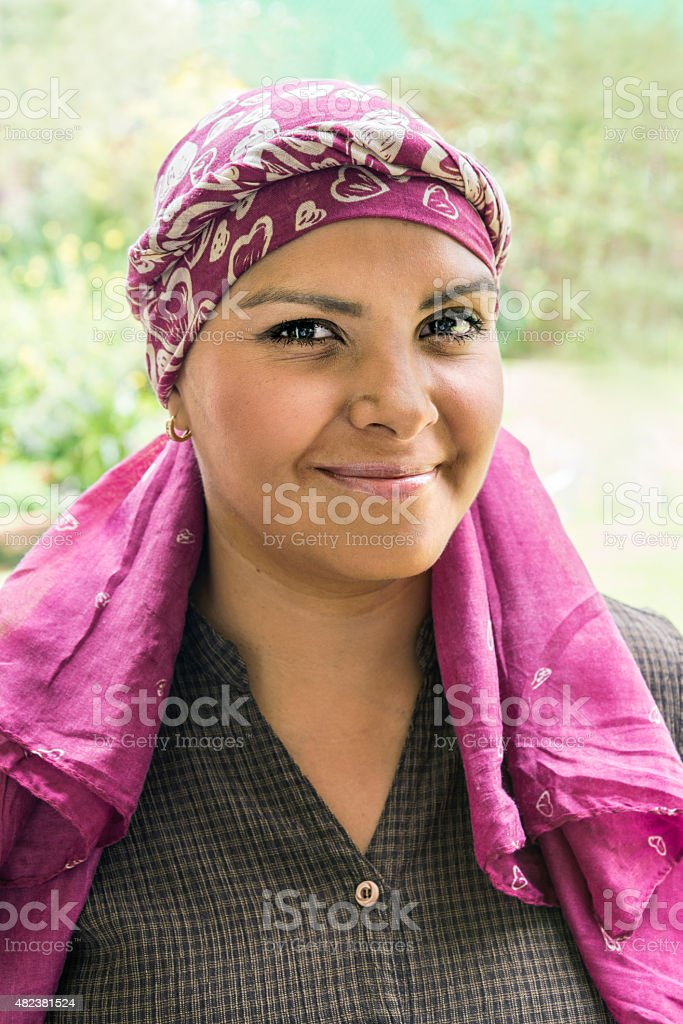 Cute Latin cancer patient stock photo