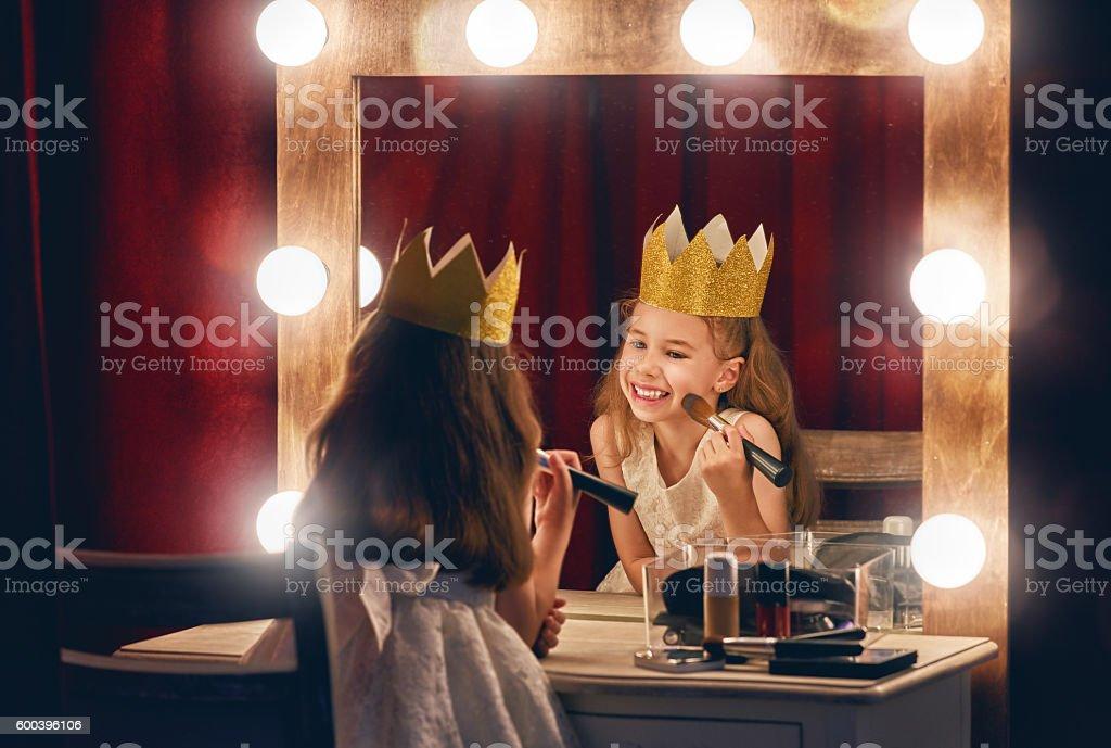 Cute little actress. stock photo
