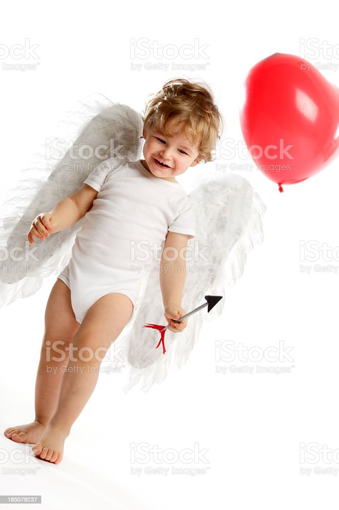 Cute little Angel & Heart shaped balloon royalty-free stock photo