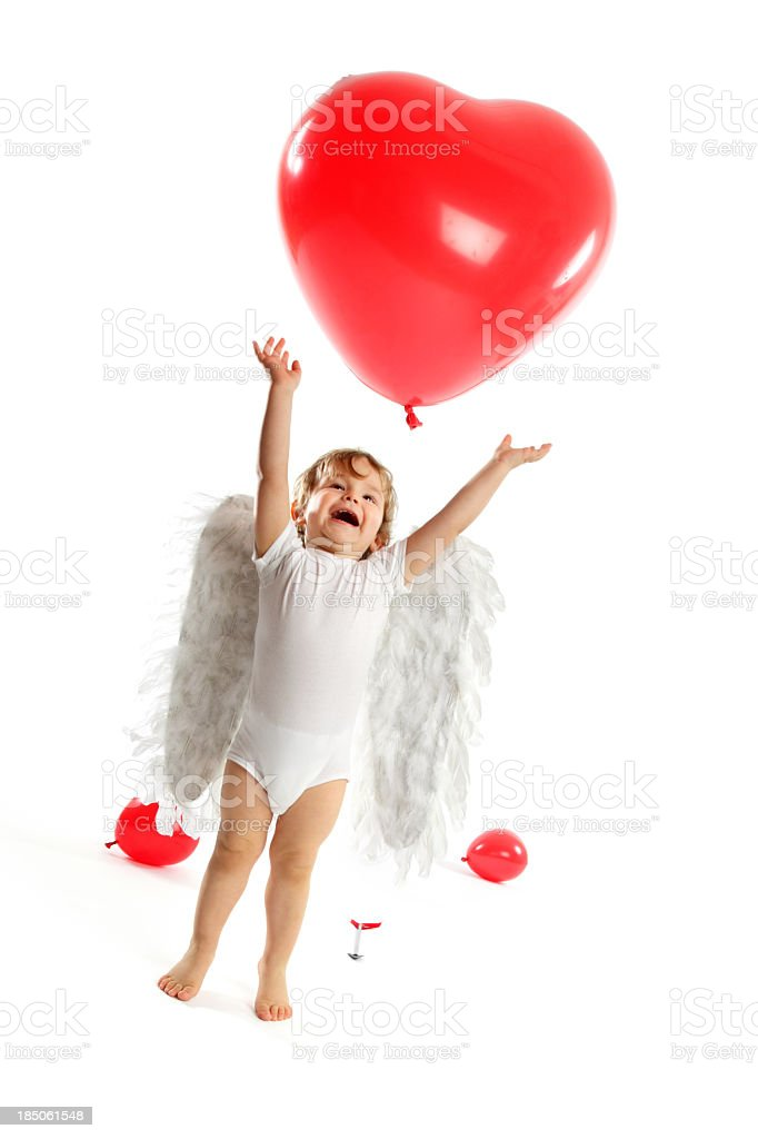 Cute little Angel & Heart shaped balloons royalty-free stock photo