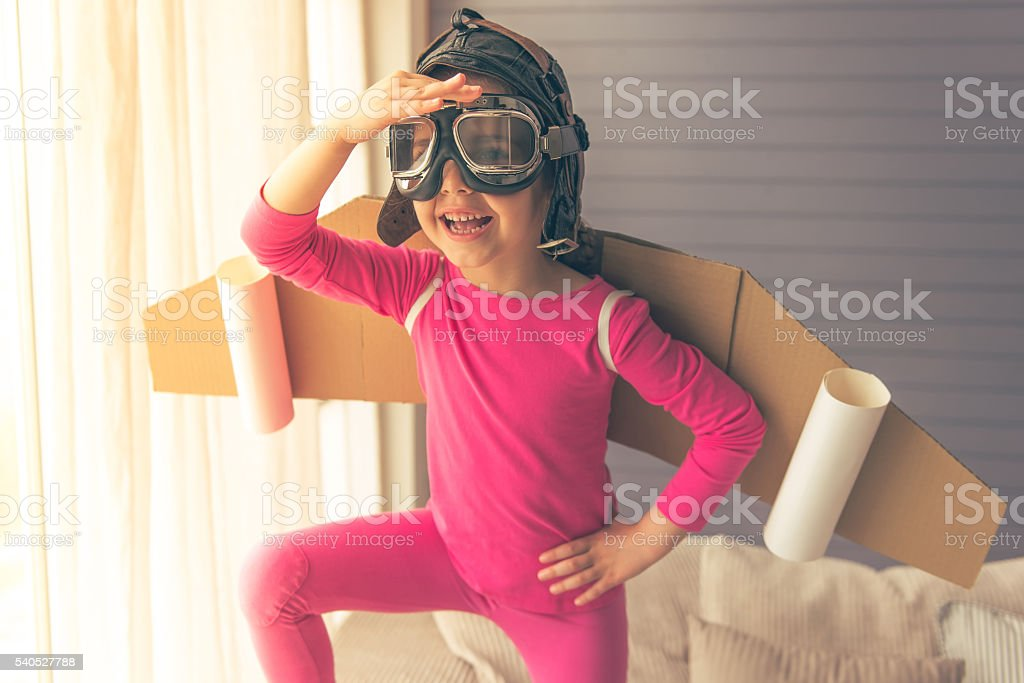 Cute little astronaut stock photo