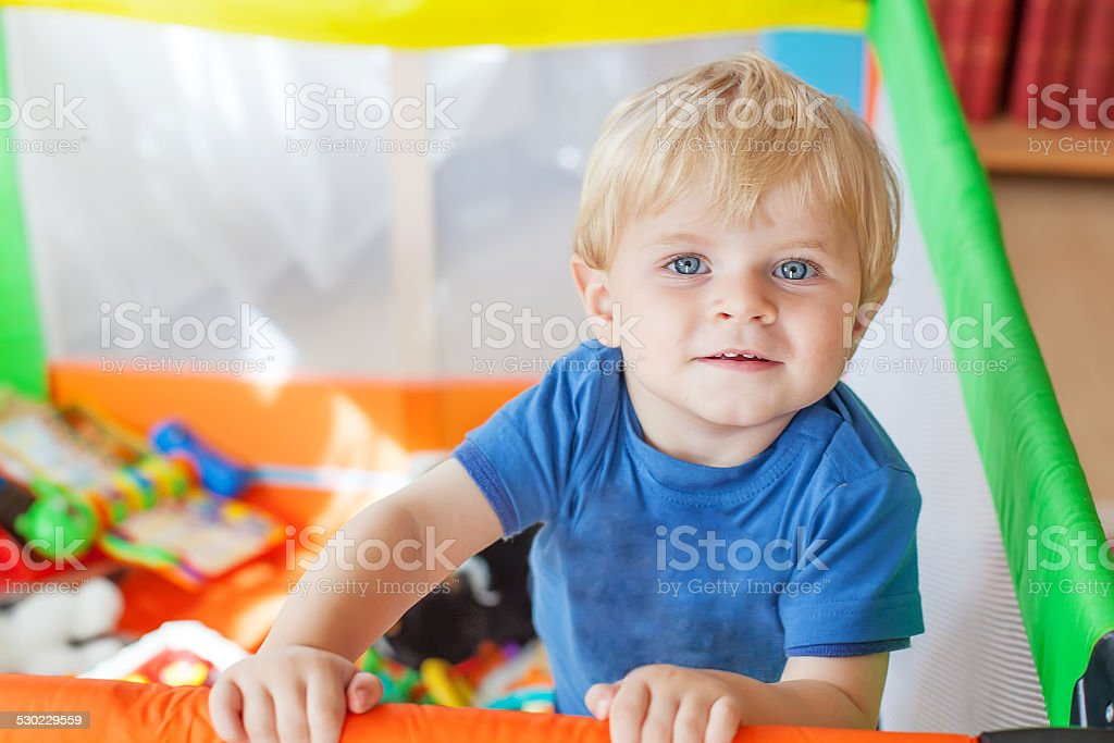 Cute little baby boy playing in colorful playpen, indoors stock photo