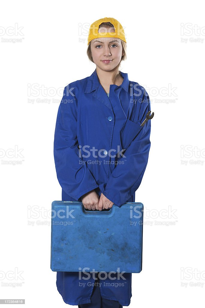 Cute Little Blonde Repairman Holding Toolbox royalty-free stock photo