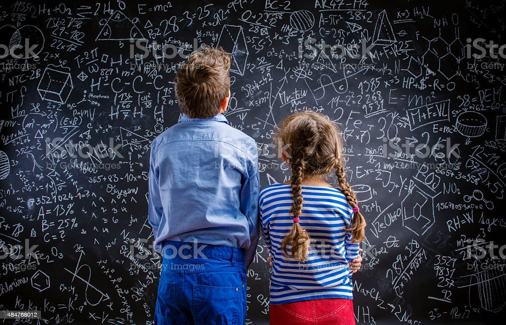 Cute little boy and girl stock photo