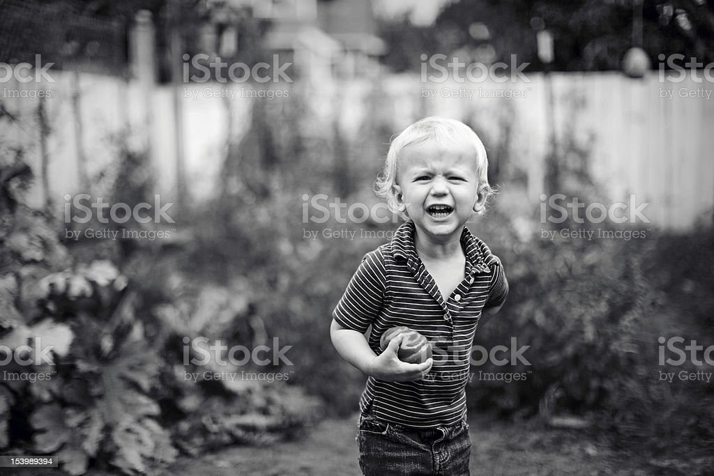 Cute Little Boy Holding Fresh Produce and Laughing stock photo