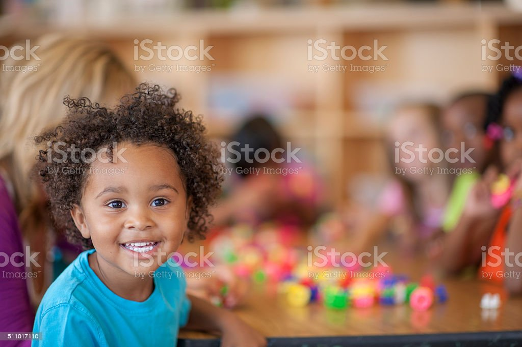 Cute Little Boy in Class stock photo